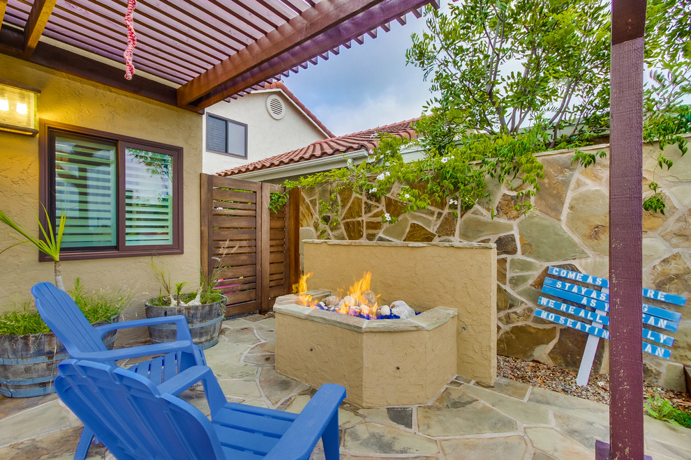 Stone Wall and Fire Pit - Beach Style - Patio - San Diego ...
