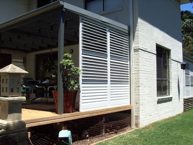 stylish privacy with aluminum shutters contemporary On privacy shutters for deck