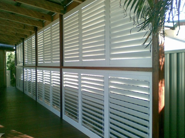 Stylish Privacy With Aluminum Shutters Traditional Patio By Weatherwell