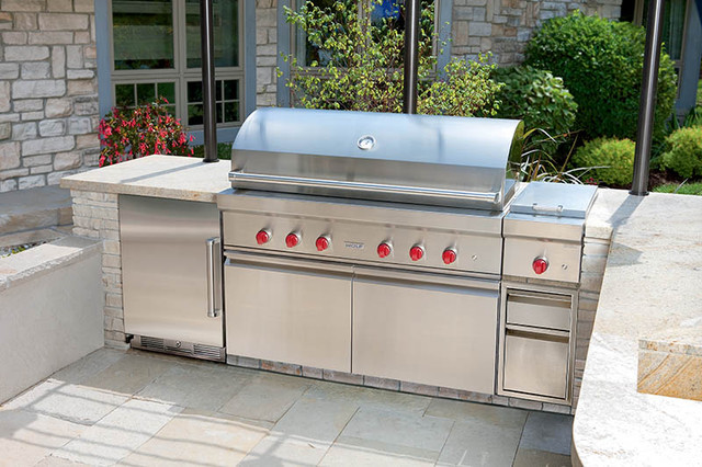 Sub zero wolf outdoor kitchen contemporary patio new for Outdoor kitchen refrigerators built in