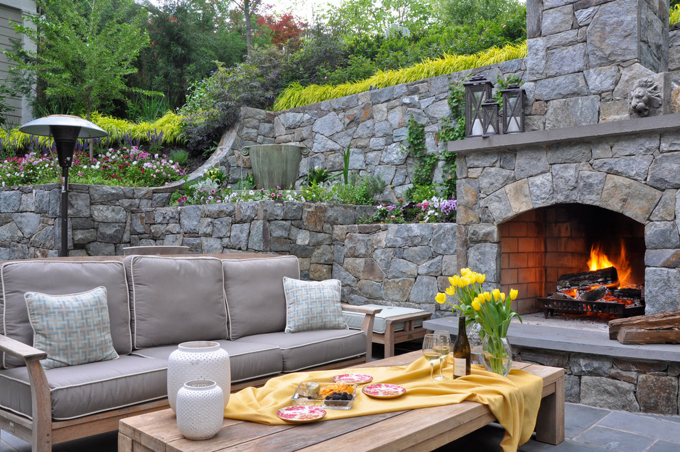 Patio - traditional patio idea in DC Metro with a fire pit