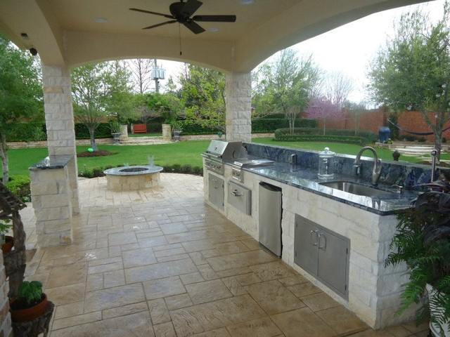 Summer kitchen fire pit eclectic patio houston - Outdoor summer kitchen ideas ...