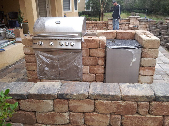 Summer Kitchen Firepit Bench Seating Patio Traditional