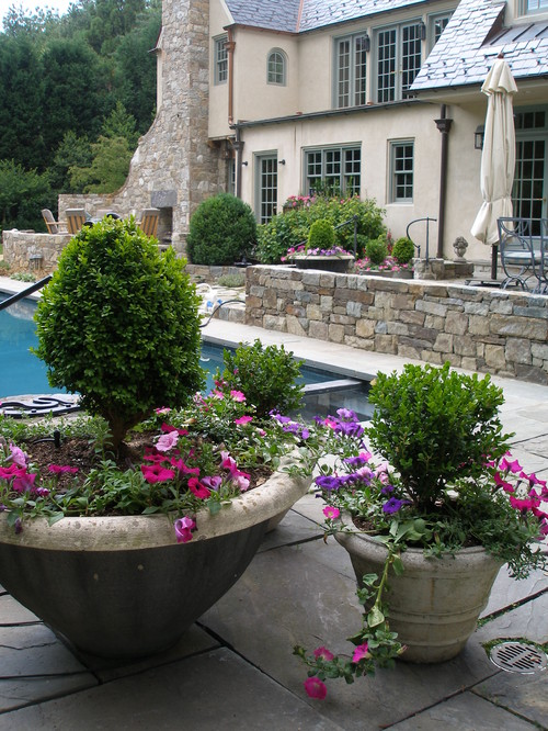 french country patio and pool design