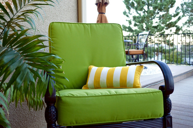 Sunbrella Macaw Lime Green Outdoor Deep Seating Chair Cushions Traditional Patio