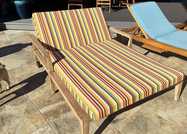 Sunbrella Striped Double Chaise Lounge Cushion ...