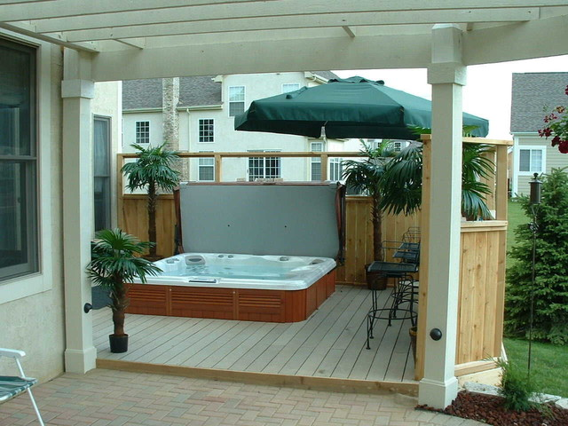 Sundance Spa Built Into Deck Contemporary Patio
