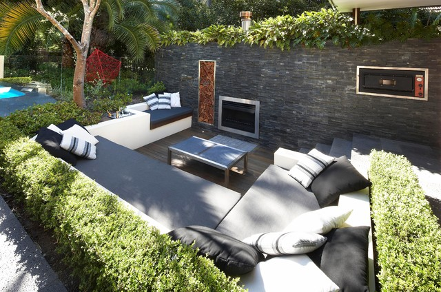 Sunken Connections Contemporary Patio