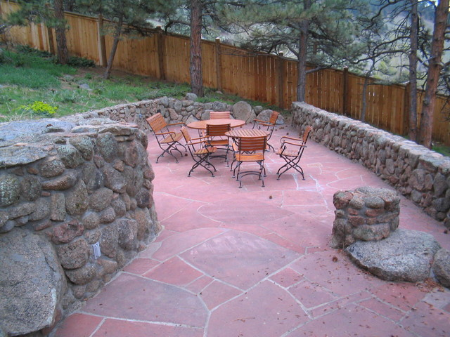 Sunshine Canyon Flagstone And Moss Rock Patio Project Traditional Patio