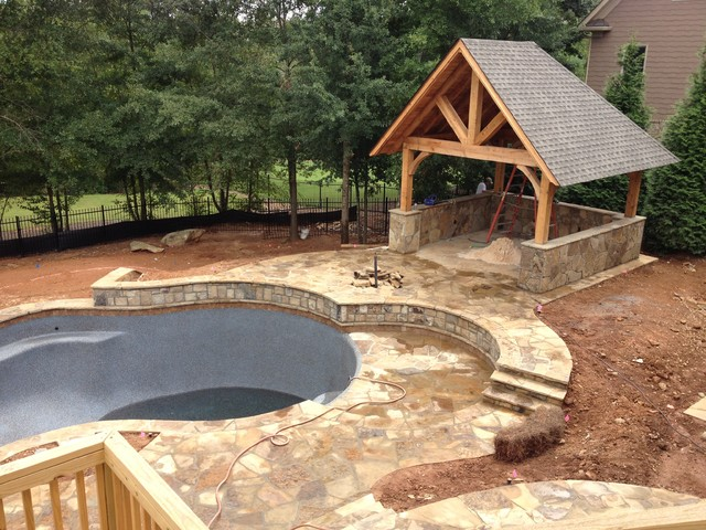 Swimming pool cabana rustic patio atlanta by for Outdoor pool cabana