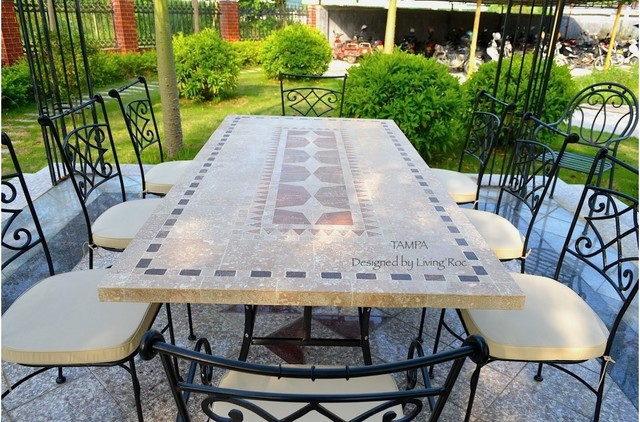 Tampa 78 94 mosaic marble stone garden patio table craftsman inspiration for a large craftsman patio remodel in miami watchthetrailerfo