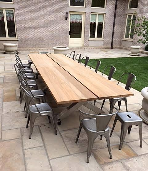 Superior Teak And Stainless Steel Patio Table Traditional Patio