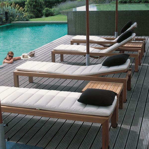 Teak Outdoor Chaise Lounge Contemporary Patio