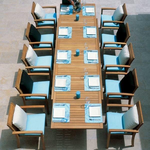 Teak outdoor extension dining table and chairs modern for G furniture chicago