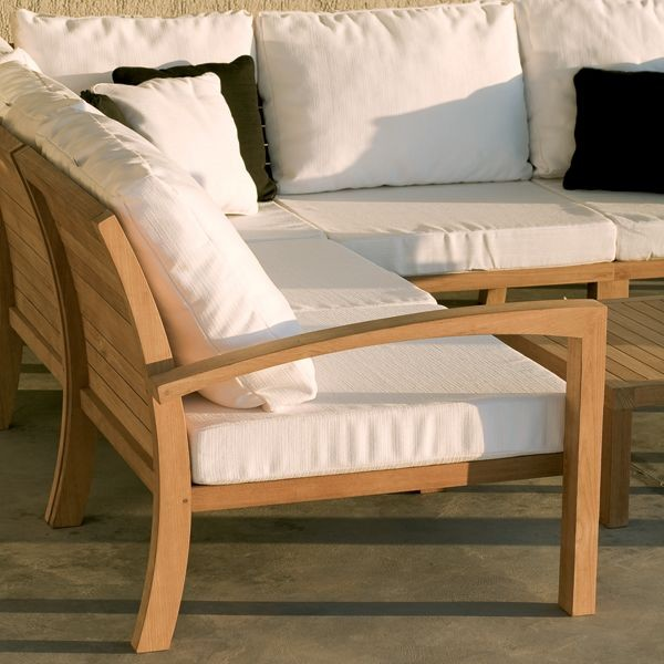 Lounge sofa outdoor teak  Teak Outdoor Sectional Sofa - Contemporary - Patio - Chicago - by ...