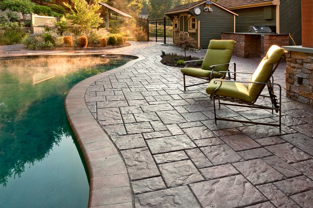 Techo Bloc Blu 60 Paver Pool Patio The Color Is Autumn Red And Has Been Sealed Traditional