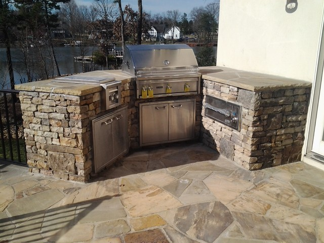 Tennessee Dry Stack Building Stone Grill Modern patio