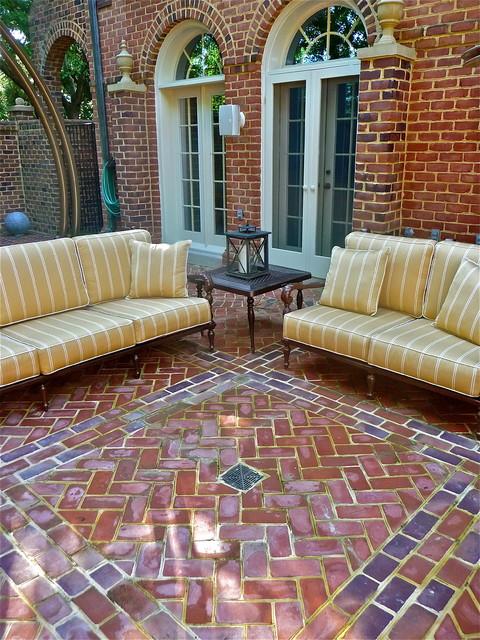 Terrace Garden of Brick in McLean, VA traditional-patio