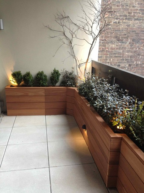 Terrace With Custom Planter Box Built With Mahogany Wood Contemporary Patio