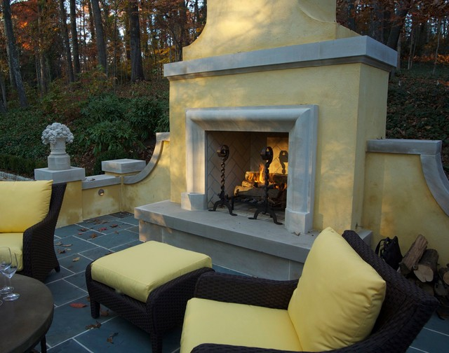 Terrace with Fireplace in Woodland traditional-patio