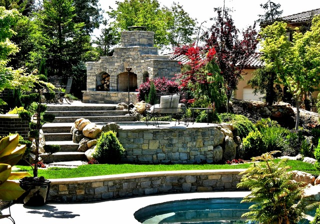 Terraced hillside estate traditional-patio