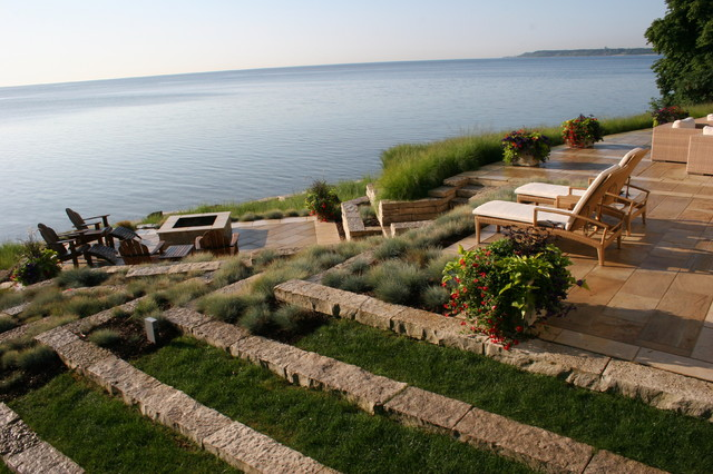 Terraced lakefront - Contemporary - Landscape - milwaukee ... on Lakefront Patio Ideas id=86432