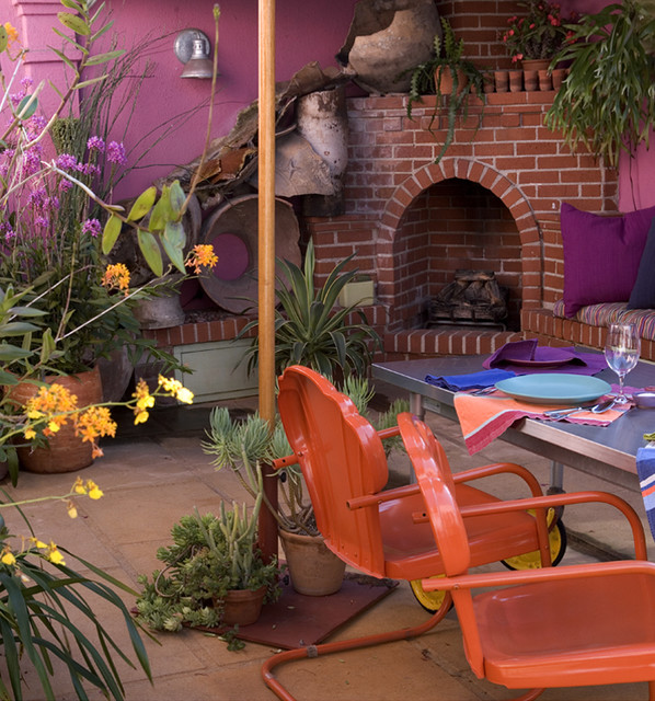 that pink kitchen - outdoor kitchen eclectic-patio
