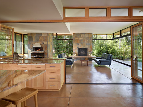 Are the glass walls in the patio removable for Back to back indoor outdoor fireplace