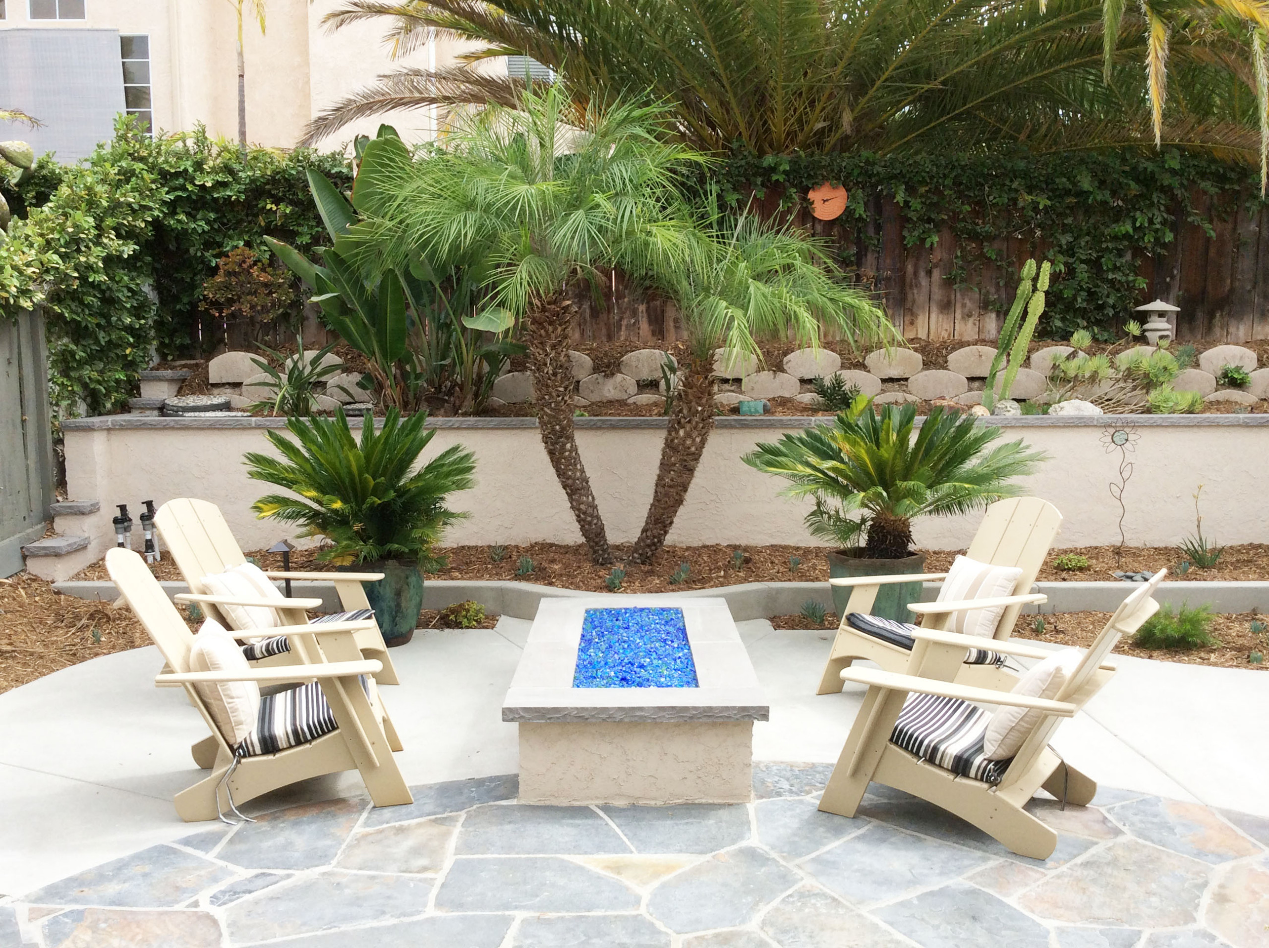 Fire Pit Lounge Area and Palm Tree Focal Point
