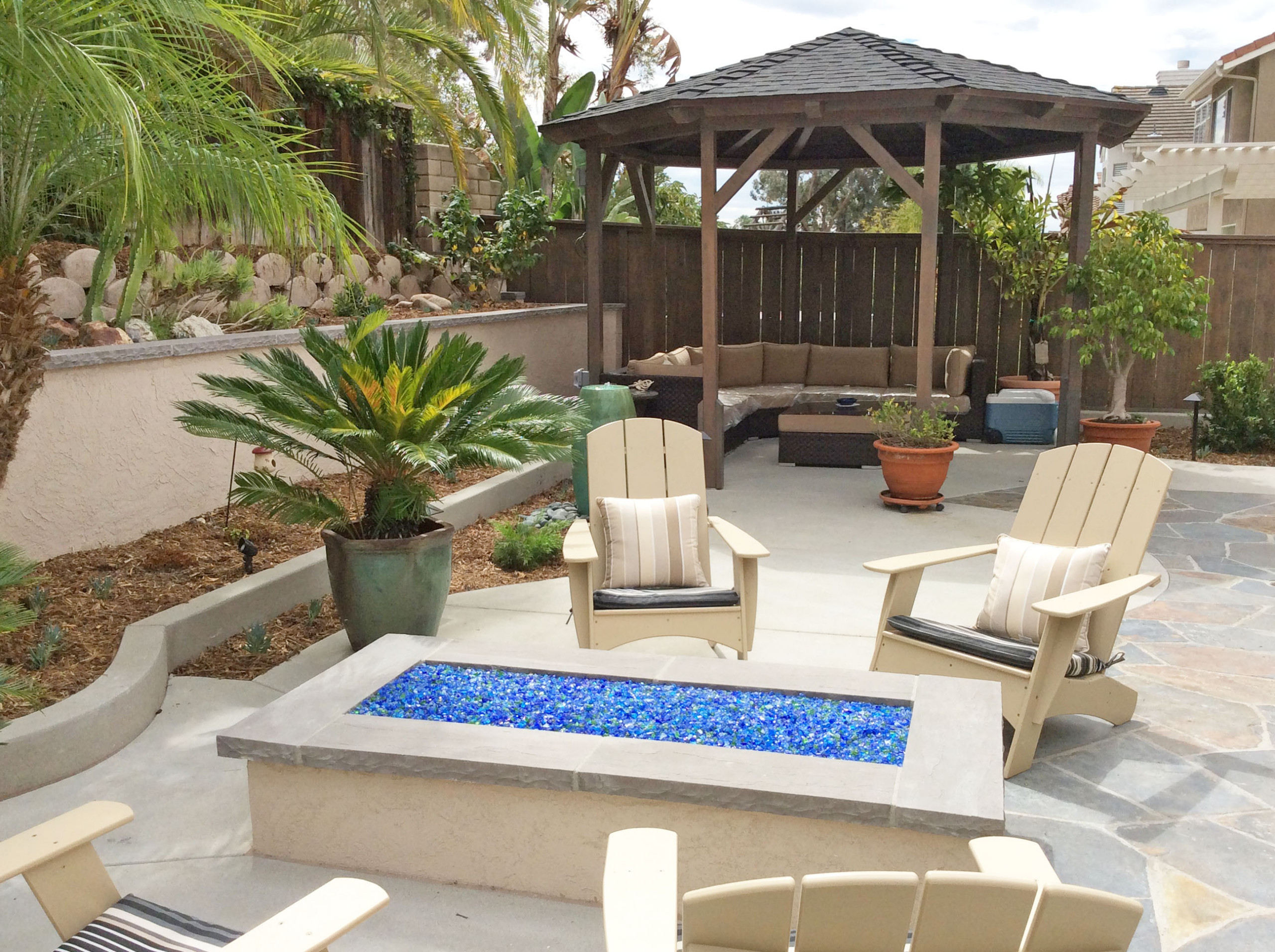 Rectangle Fire Pit and Gazeebo View