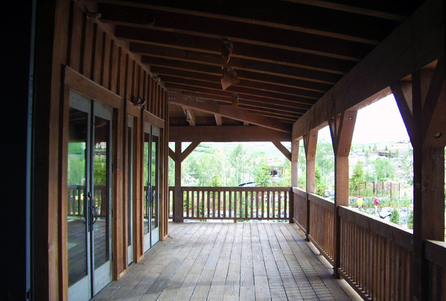 timber frame accents rustic porch