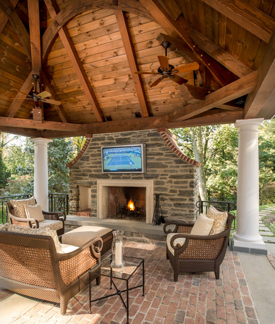 Outdoor Fireplace Design Ideas: Timber Framed Pavilion