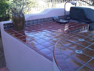 ... Barbeque - Mediterranean - Patio - phoenix - by Mexican Tile and Stone
