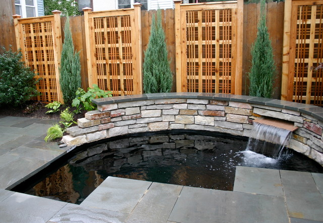Tiny yard with koi pond contemporary patio chicago for Modern koi pond design