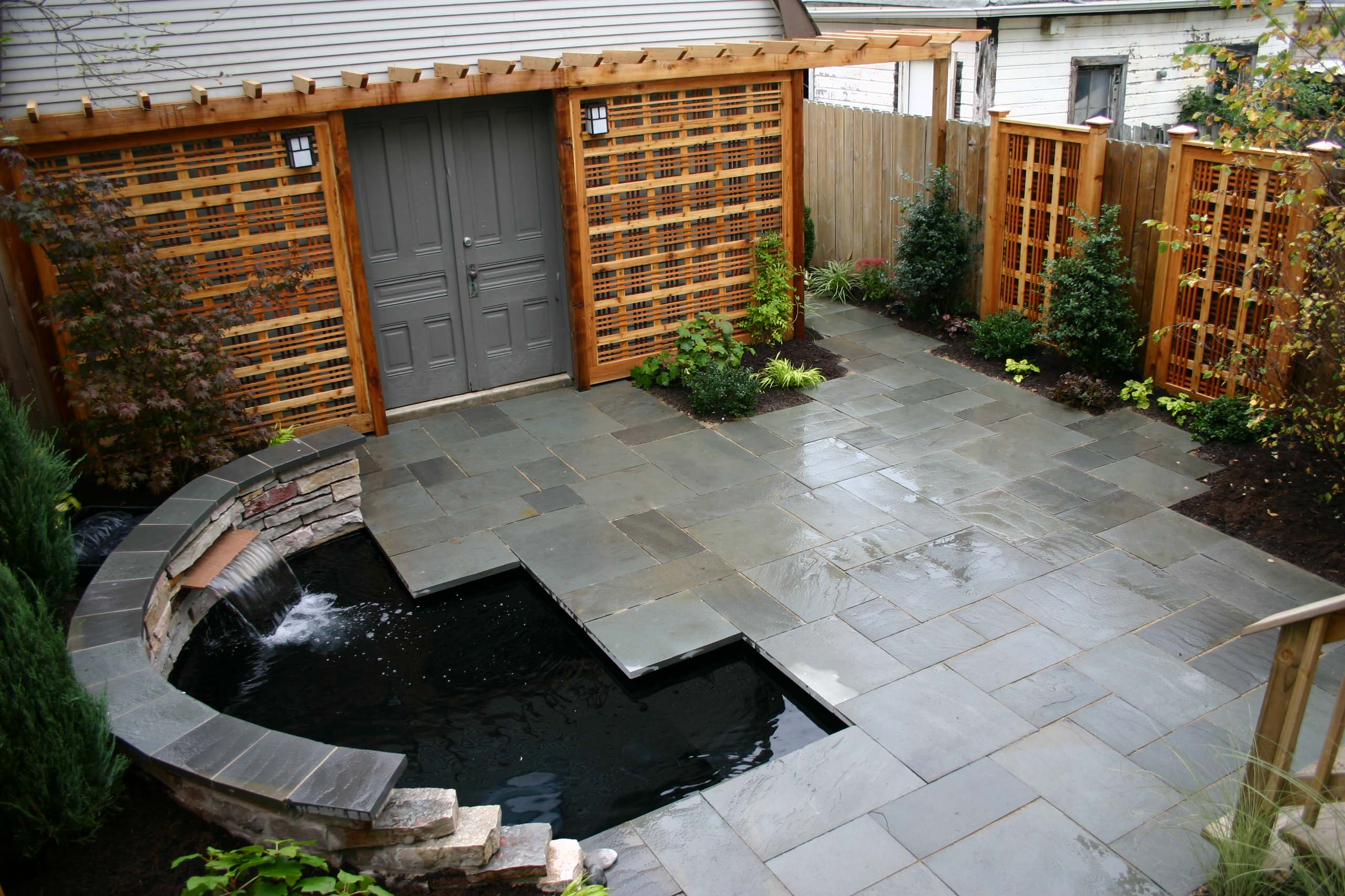 Tiny yard with koi pond