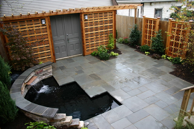 Tiny yard with koi pond contemporary patio chicago for Modern garden pond designs