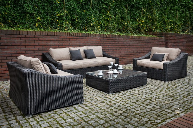 Toja Patio Furniture   Tuscan Couch Set   Red Brick Wall Patio