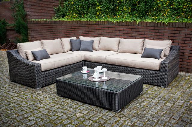 Toja patio furniture tuscan sectional set red brick for Outdoor sectional sofa toronto