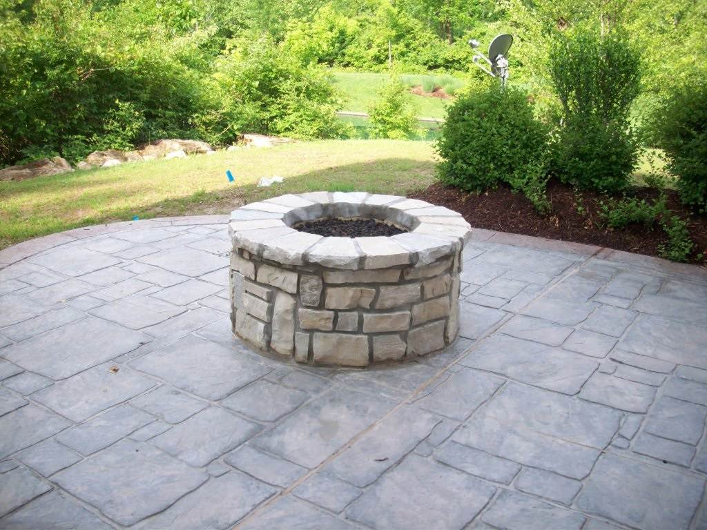 Town and Country, Missouri Stamped Concrete Patio and Stone Masonry (Gas) Firepi