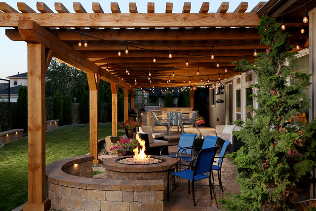 Patio Kitchen  Mid Sized Rustic Backyard Stamped Concrete Patio Idea In Boise With 75 Trendy Outdoor Kitchen Design Ideas Decoration Pictures Houzz