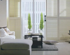 Norman Premium Wood Plantation Shutters from Blinds.com traditional patio