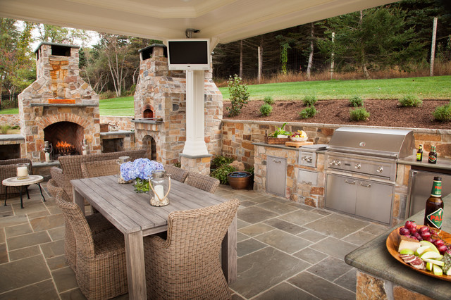 Stone for Outdoor kitchen ideas houzz