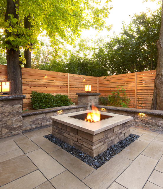 Traditional Style Fire Feature - the Prescott Fire Pit - using Techo-Bloc
