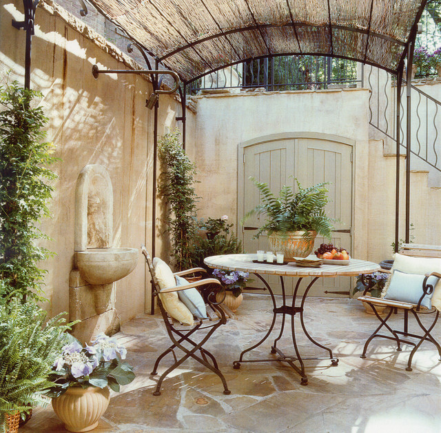transformation of a french cottage mediterranean patio. Black Bedroom Furniture Sets. Home Design Ideas