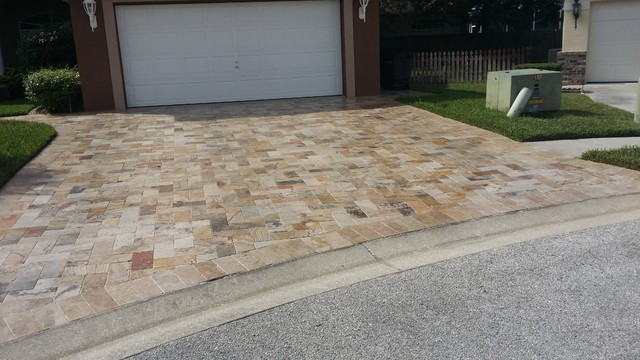 Travertine Paver Driveway Installation Tampa Fl Modern Patio Tampa By Paver House
