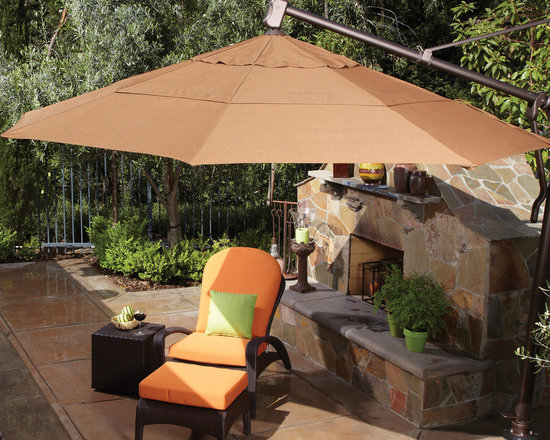 Treasure Garden Patio Umbrellas, Umbrella Accessories and Umbrella Bases - Treasure Garden makes large patio umbrellas, umbrella bases and protective furniture covers that provide quality, value and style to both residential and commercial outdoor spaces. Treasure Garden has been making patio umbrella for over 25 years and continues to lead the outdoor furniture industry with innovative products such as the 13 foot AZK Cantilever Umbrella. We offer all Treasure Garden products, including replacement canopies made from Sunbrella Fabrics. http://www.authenteak.com/treasure-garden.html