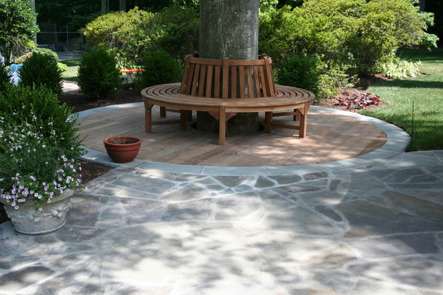 Tree Bench With Wood And Flagstone Patio Contemporary Patio Dc Metro By Land