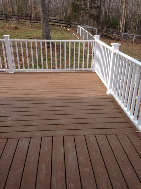 Trex beach dune composite deck with white polyrail and for White composite decking