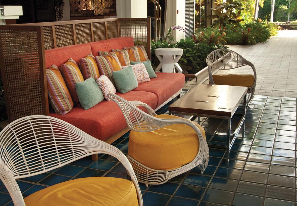 Island style tile patio photo in Hawaii