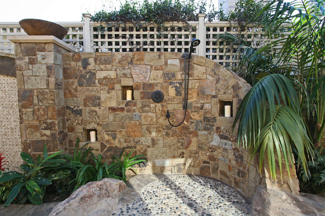 Tropical Stone Outdoor Shower tropical-patio